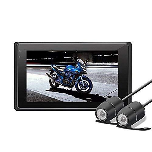 """OXOQO Dash Cam per Moto, Aggiornamento 3.0"""" 1080P+720P Auto Action Camera Impermeabile Motociclo Telecamera con G-Sensor, Loop Recording, Nite Mode, WDR"""