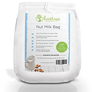 Premium Nut Milk Bag - Including Free UK Delivery & Free Recipe E Book - Large Food Grade Reusable Super Fine Strong Nylon Mesh Bag - Smooth Milks & Juices Every Time ★ With No Risk 100% Money Back Guarantee. Love Tree Products