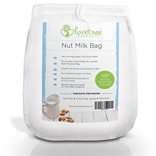 Lovetree Products Nut Milk Bag, Professional Filter for Almond, Coconut, Greek Yogurt, Soy Milk, Fruit & Veg Cheesecloth Replacement Reusable Strainer, Strong Nylon Mesh, Inc FREE Recipe E-Book