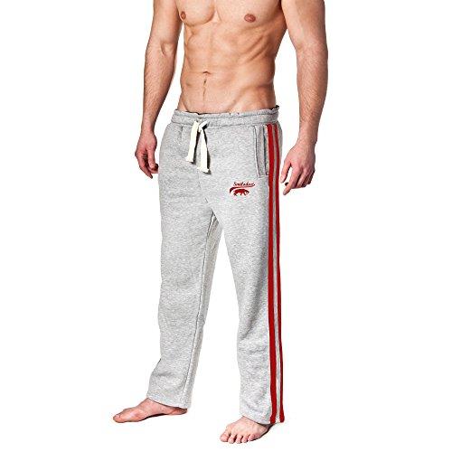 SMILODOX Jogginghose Herren | Trainingshose für Sport Fitness Gym Training & Freizeit | Sporthose - Jogger Pants - Sweatpants Hosen - Freizeithose Lang, Farbe:Grau/Rot, Größe:L
