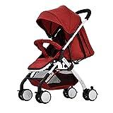 TYX-FSJ Cochecito de bebé Ultra Ligero Plegable Portátil Puede Sentarse Mentira Mini Paraguas Coche Cochecito de Bebé Bebé Niño Cochecito,Red