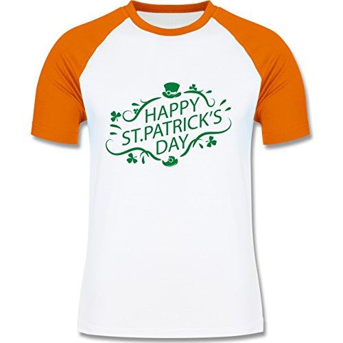 Festival - Happy St. Patrick's Day - zweifarbiges Baseballshirt für Männer Weiß/Orange