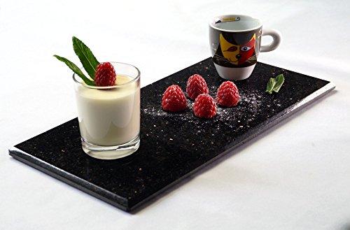 Servierplatte - Servierteller - Vorspeisenplatte - Dessertplatte rechteckig aus poliertem STAR Galaxy Granit - 30x15cm - Handarbeit