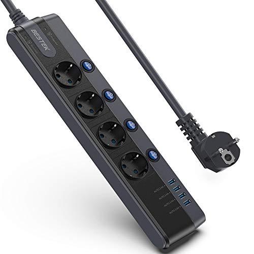 Regleta de Enchufe con 4 Tomas + 4 Salidas USB BESTEK Regleta...