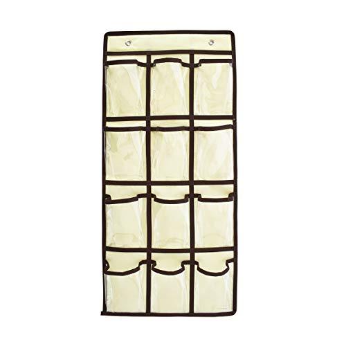 Blue Page 36 transparente Hängetaschen, zum Aufhängen, Handy, für Lehrer, Klassenzimmer, Wandhalterungen und Organizer für Taschenrechner, mit 4 Metallhaken, Beige/Grün, Beige/Schwarz, 12 x 24 inch
