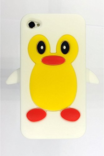 SODIAL(R) Pinguin Style Silikon huelle Case Cover Tasche Skin Schutzhuelle fuer iPhone 4S / iPhone 4 - Blau Weiss