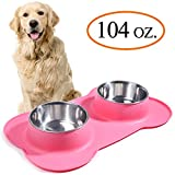 VIVAGLORY Dog Bowls Extra Large Stainless Steel Water and Food Bowl Pet Cat Feeder with Non Spill Skid Resistant Silicone Mat, Pink