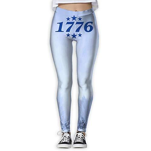 QIAOJIE 1776 Patriotic 4th of July USA Women's Full-Length Yoga Workout Leggings Thin Capris -