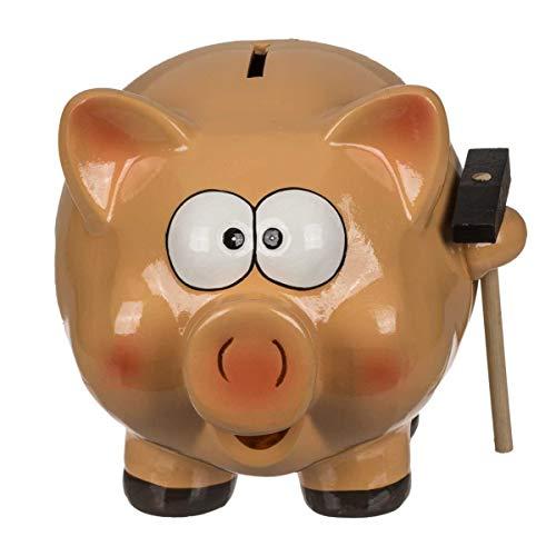 Hucha de cerámica, cerdo con martillo, aproximadamente 18 cm x 22 cm x 17 cm