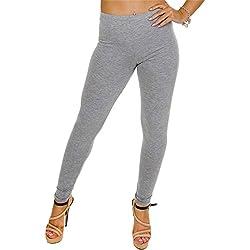 Leggings para mujer, aspecto húmedo, diseño liso, tallas S a XL gris Grau - Plain - Grey S
