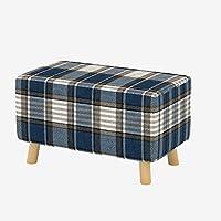 Preisvergleich für Fußhocker Fußstütze Holz Ottomane Bank ändern Schuhe Bank Sofa Hocker Holz Hocker für Erwachsene Kinder Stoff Hocker mit 4 Holzbeine im Wohnzimmer Schlafzimmer-Blaue Streifen-Rechteck