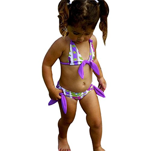 Badebikini zahuihuiM Kinderbaby Mädchen Blumen Druck Badeanzug Bikini Sleeveless Badebekleidung (110, Purple)