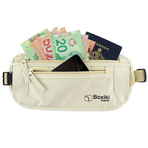 """Cintura femminile porta soldi \""""invisibile\"""" con la tecnologia di bloccaggio RFID / Custodia sicura per passaporti e denaro (Beige)"""