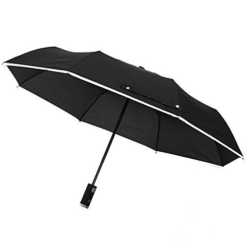 Automatic Regenschirm Taschenschirm mit LED-Griff, Reflektierende Reversible Regenschirm Falten Sicherheit --Rain und UV-Schutz Winddicht Wasserdicht (Schwarz)