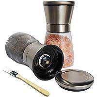 Homii moulins à sel et poivre ,Taille de grain réglable,acier inoxydable et en bouteilles en verre(Set de deux)