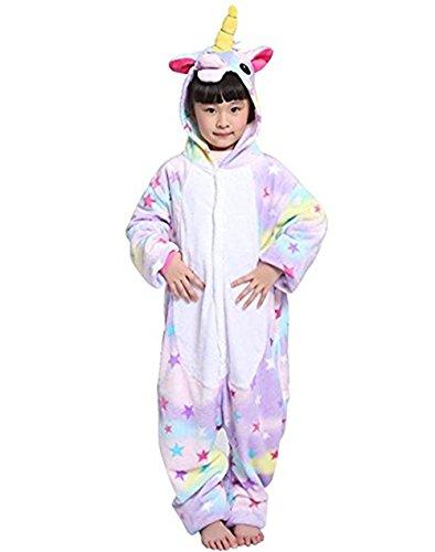 Tier Einhorn Pyjamas Cartoon Kostüm Jumpsuit Nachtwäsche Kinder Schlafanzug Erwachsene Unisex Fasching Cosplay Karneval, Star(kinder), 130(Höhe120-130CM)