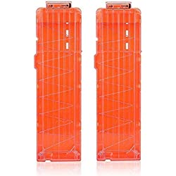 Tbest 2PCS Soft Bullet Clip Darts,6/12/18 Dart Quick Reload Refill Clip Cartridge Magazine Replacement pour Nerf Gun N-Strike Elite Blasters (18 Dart Transparent Orange)