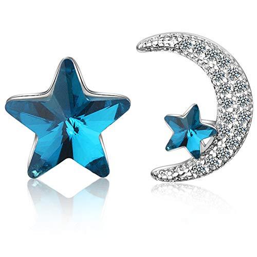 JZTRADING Mond Ohrringe Hypoallergene Einzigartige Blaue Klassische Diamanten Stern Einfache Ohrringe Für Urlaub