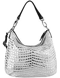 OBC Leder Metallic Damen Tasche Schultertasche Umhängetasche Handtasche Henkeltasche Shopper Hobo-Bag