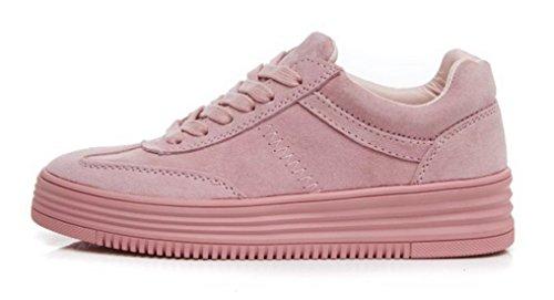 DADAWEN Femme Unique Couleur Lacts Sportif Sneaker Rose