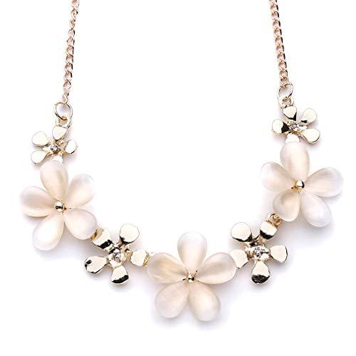 Opal Modeschmuck - SUNSKYOO Blume Opal Kristall Halskette Kurze