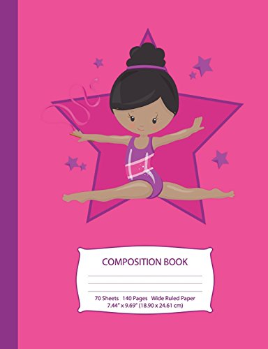 Composition Book: Black Hair African American Gymnast - Hot Pink w/ Purple Stars - Wide Ruled - 140 Pages (70 Sheets) - 7.44