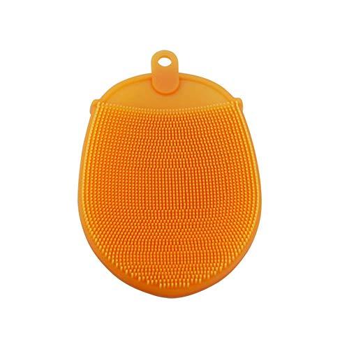 Empfindliche Haut-haar-bürste (Soft-Silikon-Bürste Körper Gesicht Haare waschen Bad Peeling Haut Massage Scrubber Trockene Haut Bürsten Glove 1pc orange)