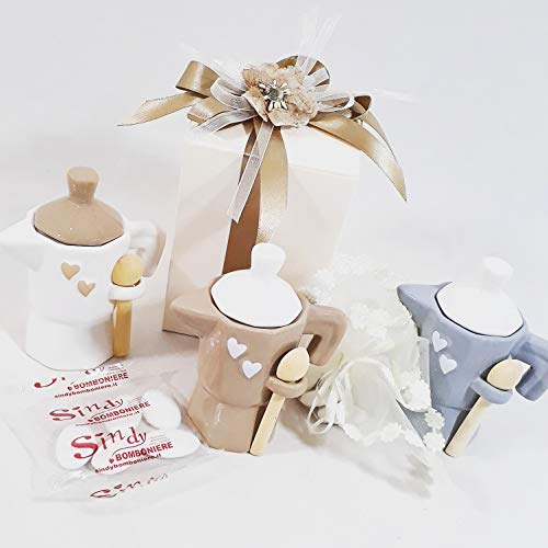 Sindy Bomboniere Idea bomboniera Matrimonio caffettiera zuccheriera Colori Assortiti (1 Kit per Il confezionamento con 1 Moka)
