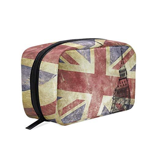 Big Ben mit Union Jack-Flagge, Make-up-Tasche, Kosmetiktasche, Kulturbeutel, Reisetasche für Frauen, tragbare Organizer, Aufbewahrungstasche
