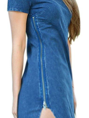 sourcingmap Femme Fermeture éclair côté Ourlet Arrondi Chemise Tunique Bleu