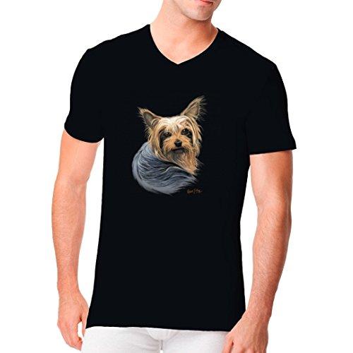 Im-Shirt - Shirt: Yorkshire Terrier Hund cooles Fun Men V-Neck - verschiedene Farben Schwarz