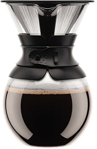 Bodum Pour Over Coffee Maker (Permanent Filter, Dishwasher Safe, 1.0 L/34 oz) - Black