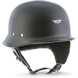 Casco de moto Moto D33negro mate, tipo jet, para chopper, scooter, estilo retro, hebilla Secure™, con bolsa, talla L (59-60cm)
