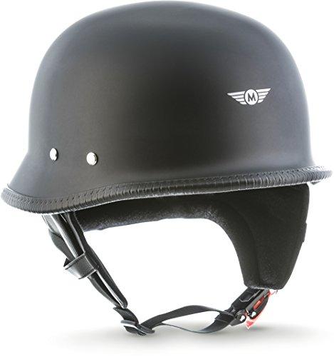 MOTO · D33 Matt Black (Schwarz) · Jet-Helm Braincap Bobber Halbschalen · Roller Chopper Mofa Motorrad-Helm Scooter-Helm Retro · Click-n-SecureTM Clip · Tragetasche · L (59-60cm)