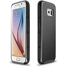 Xinda Galaxy S6 carcasa antigolpes doble capa resistente carcasa Armor PC caso duro para Samsung Galaxy S6 , negro,