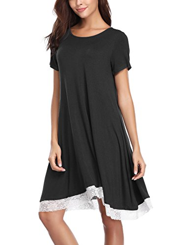 Aibrou Damen Baumwolle Nachthemd Rundhals Kurzarm Nachtkleid Sleepwear mit Spitzensaum (S-XXL) Schwarz M