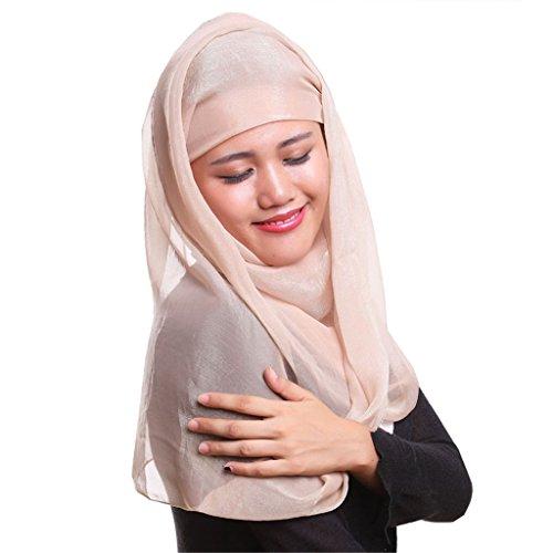 GladThink Taille musulmane plus de femmes en mousseline de soie Hijab Scarf avec plus de couleurs Kaki