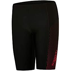 Speedo Boy's Gala Logo Panel Aqua Shorts, Black/Risk Red, 28