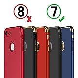 iPhone 7 Hülle, RANVOO 3-Teilige Styliche Hochwertige Extra Dünne Harte Schutzhülle Schale Cover Case Hardcase für iPhone 7, Diamentschwarz [Apple Logo sichtbar] - 7