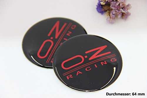R301 OZ 2 stück Felgendeckel 3D Emblem Abziehbild Auto Aufkleber Nabendeckel Radkappen Nabenkappen 64 mm schwarz (Ford Nabendeckel Embleme)