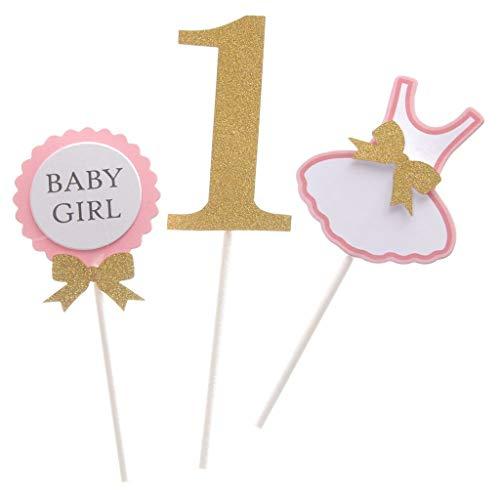 Niedliche Baby-Boy oder Baby-Mädchen 1. Geburtstag Bekleidungs Design feiern Party-Kuchen Topper Kuchen Dekor-Pink, eine Größe