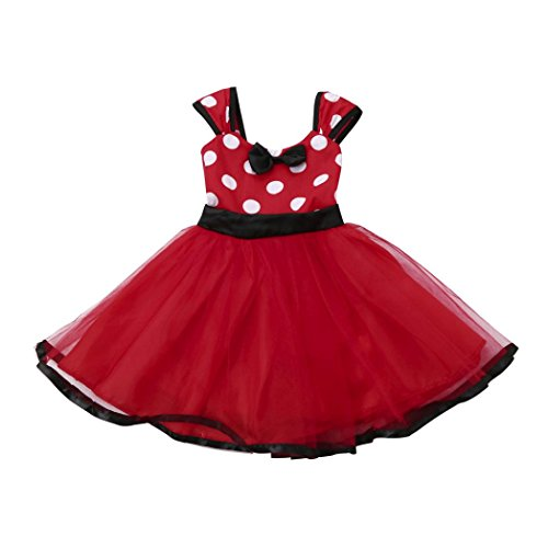Weihnachtskleid URSING Kleinkind Kinder Baby Prinzessin Mädchen Punktdruck Tutu Kleid Weihnachten Outfits Kleider Kleid Partykleider Bekleidungsset Ausstattungs Kleid Kleidung Nettes Kleid (Rot, 120) (Ballkleid Kostüm Ideen)