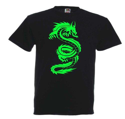 Drache D5 T184 Unisex T-Shirt Textilfarbe: schwarz, Druckfarbe: neongrün