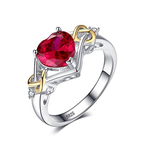JewelryPalace 2.58ct Bague de Fiançailles Femme en Forme Coeur Rouge Noeud d'Amour en Rubis de Synthèse en 18K Plaqué Or Taille 57