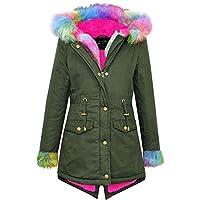 A2Z 4 Kids® Kids Meisjes Hooded Jacket Ontwerper Regenboog Faux Fur Parka School Jassen Outwear Jas Nieuwe Leeftijd 2 3 4 5 6 7 8 9 10 11 12 13 Jaar