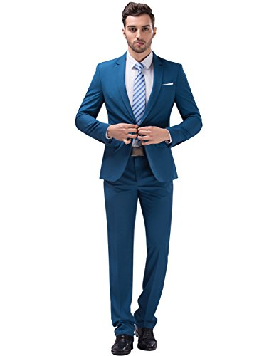 Tsui-Fashion Men's New Work Slim Fit One Button Suits XZ00261BL Blue