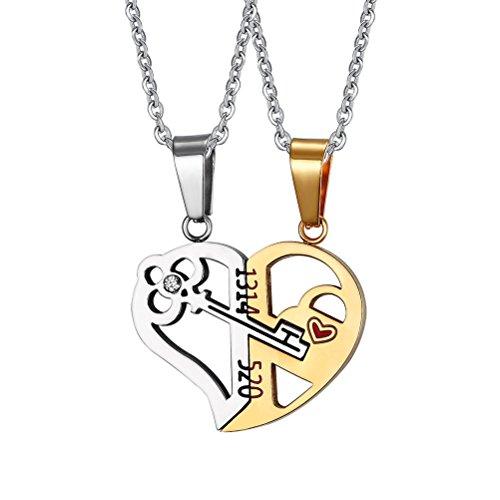 Vnox 2 piezas corazón de amor llave de rompecabezas dentro de acero inoxidable collar colgante para hombres pareja de mujeres,cadena libre