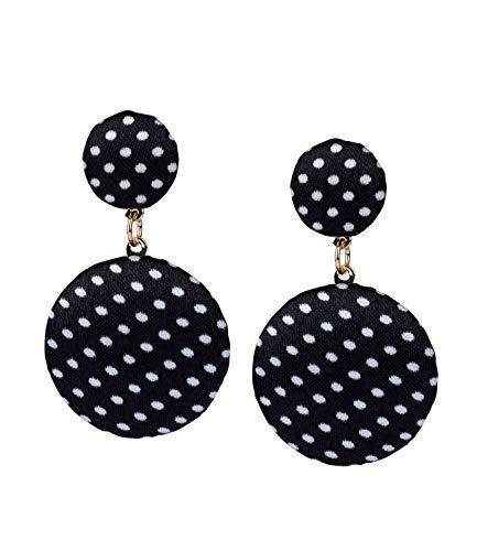 Schwarz Weiß Und Ohrringe Kostüm - SIX Damen Ohrringe, Ohrhänger, Punkte, Kreise, 50er Jahre, Kostüm, gold, schwarz, weiß (784-182)