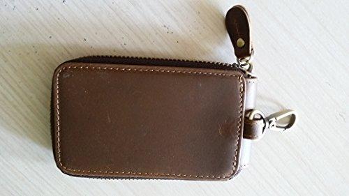 46508125b709 ... Everdoss Schlüsseltasche Leder Schlüsseletui Herren Auto  Schlüsselanhänger Kreditkarten Inhaber Dunkelbraun