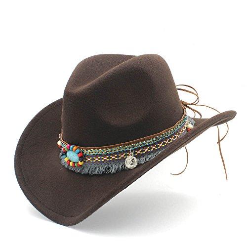 HXGAZXJQ Fashion Damen Herren Westernhut Cowboyhut für Damen, Quaste, Filz, Cowgirl Sombrero Caps, Coffee, 55-58 cm